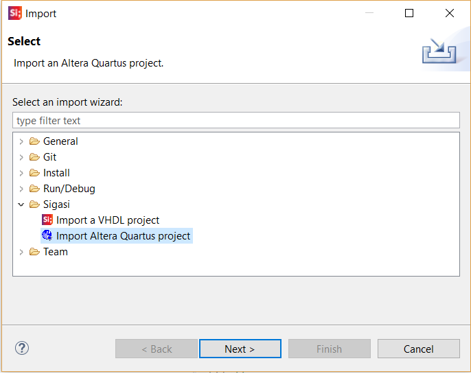 import altera project into sigasi