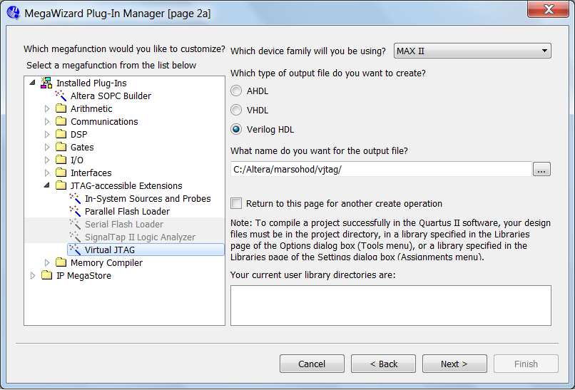 Altera MegaWizard Plug-In Manager