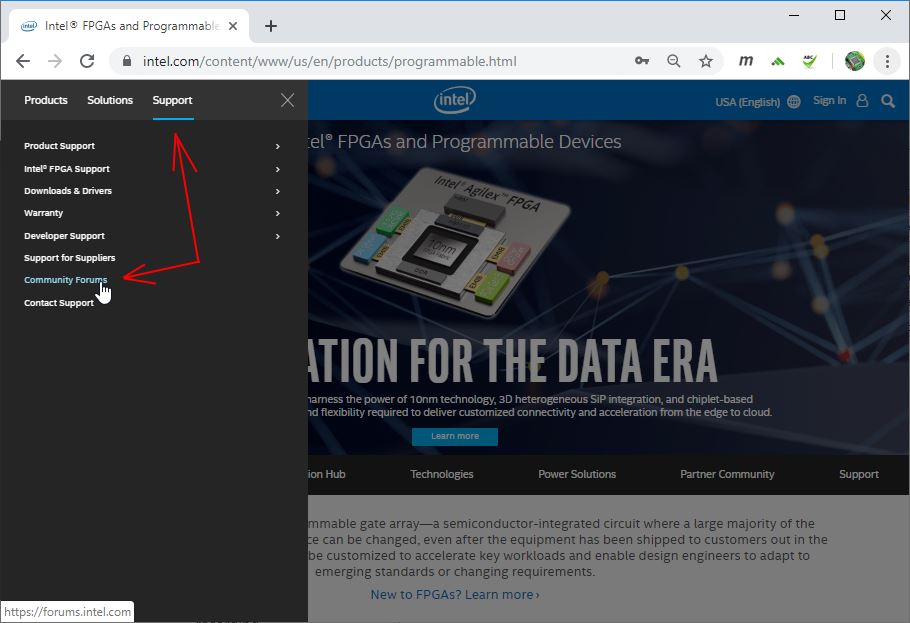 go to forume on Intel site