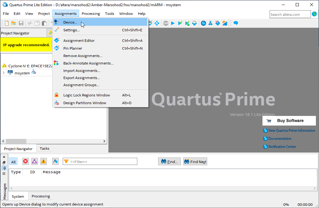 quartus menu assignment