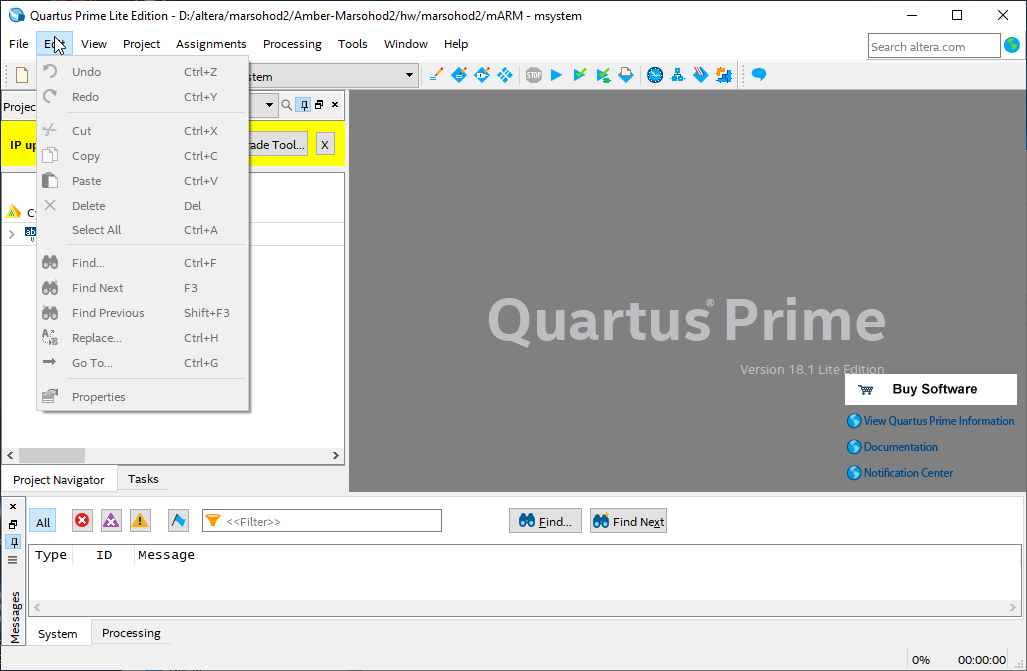 quartus menu edit