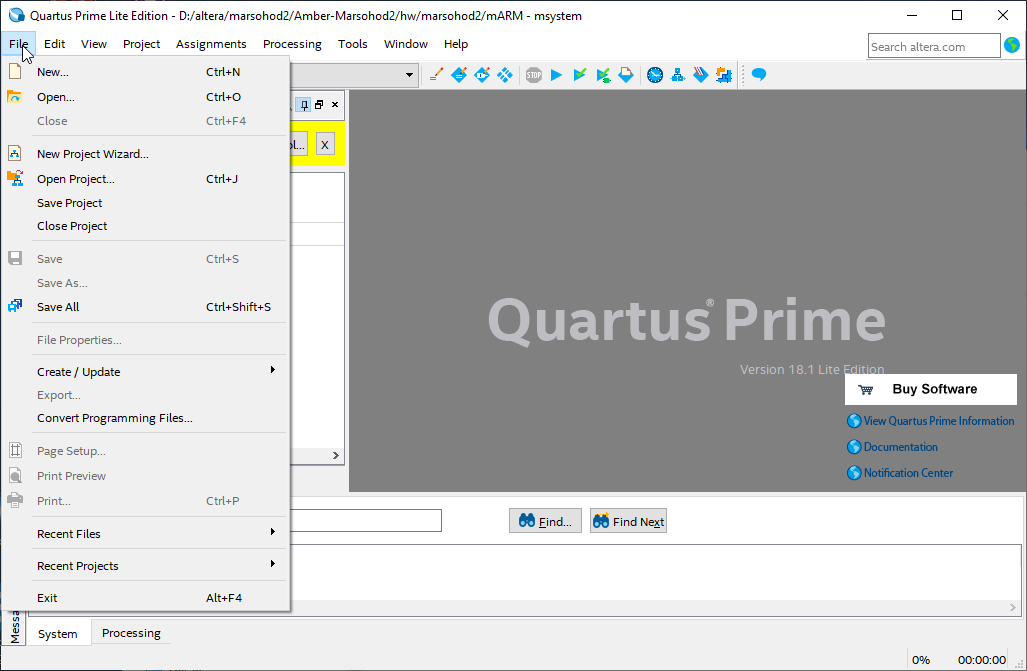 quartus menu file