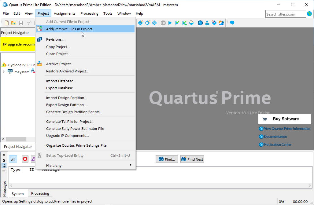 quartus menu project