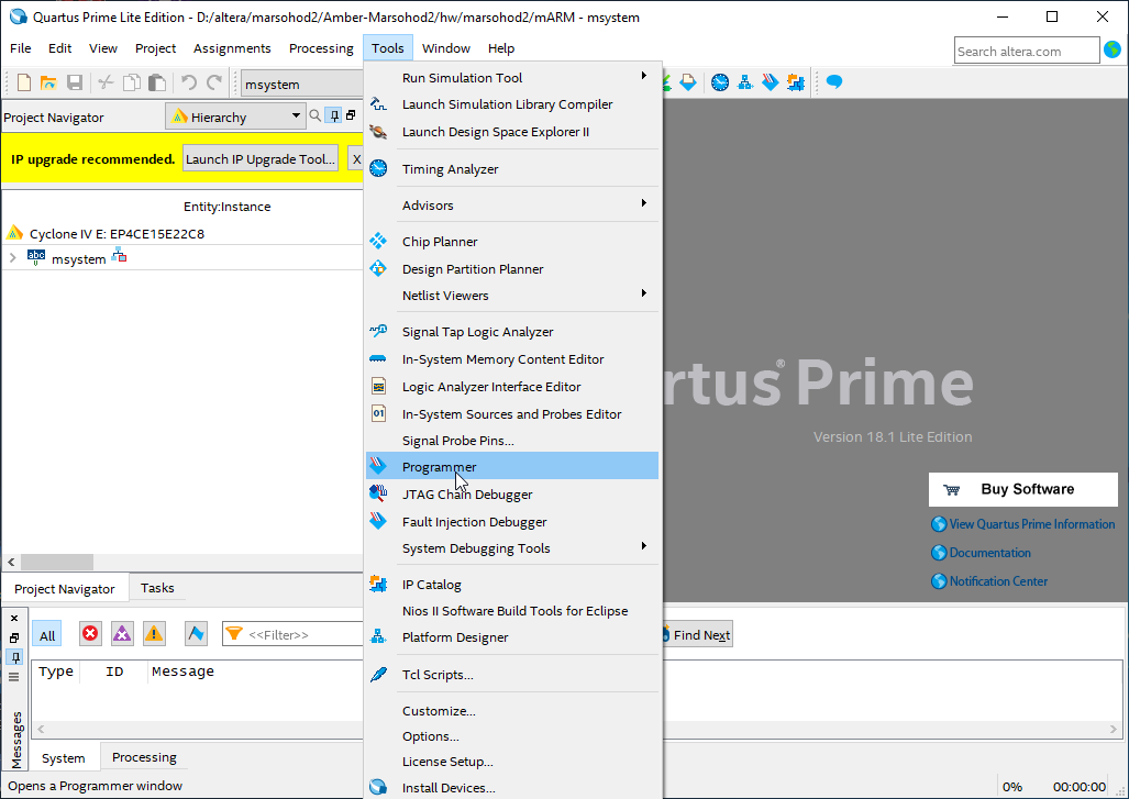 quartus menu tools