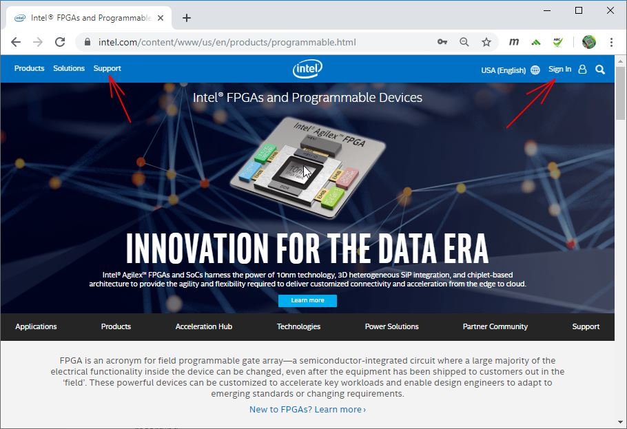 sign in on intel web site